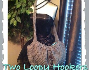 Fabric Lined SMALL Hobo Crocheted Handbag w/beads