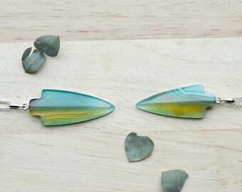 Green Arrow Pendant, Onyx Agate Arrow, Stone Pendants, Summer Jewelry
