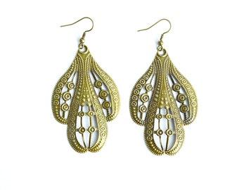 Large Boho Earrings - Bronze Earrings - Statement Earrings - Dangle Earrings  J163