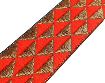 Aztec Pattern Jari Border in Tagerine and Gold -  Border / Lace / Jacquard Trim /  Extra Wide Border