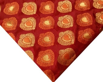 Coral |Orange | Gold Jacquard Fabric - Indian Silk - Banaras Silk Jaquard Fabric by Yard