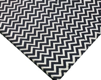 Black and White Organic Kalamkari Chevron Block Print Indian Fabric - Black and White Chevron Fabric By Yard
