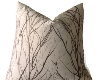 Embroidered  Pillow, Decorative Designer Pillows Cover, Tree Branch Pillow, Throw Pillows, Brown Pillow,  Silk Pillow