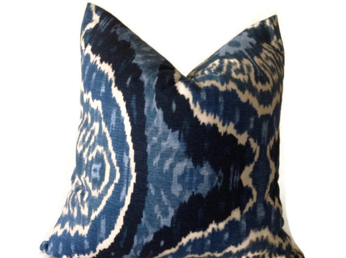 Blue ikat Pillows Blue Throw Pillows Decorative Pillow