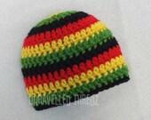 Newborn Hat, Crochet Rasta Baby Hat, Rasta Baby Beanie, Crochet Newborn Hat
