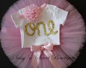 Pink gold glitter ONE 1st First Birthday onesie headband deluxe tutu Cake Smash photo props shoot
