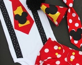 MICKEY MOUSE 1st First Birthday onesie hat diaper cover necktie neck tie Cake Smash photo props shoot