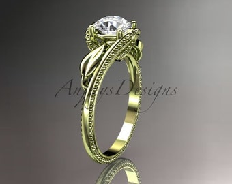 Unique 14kt  yellow gold  engagement ring ADLR322