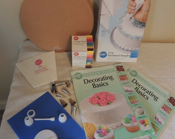 Wilton Cake Decorating Sampler Includes Basic Book, Tips, Icing Colors, Bags, Rounds More Basics for Class Decorate Cakes