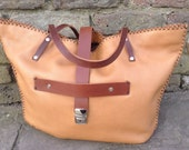 One-off handstitched handcrafted tan leather cowhide large tote silver hardware