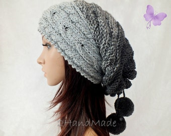 Slouchy Beanie Slouch Hat Oversized Baggy Cabled Hat Neck Warmer womens Fall Winter Merino Wool Gray Grey Hand Made Knit