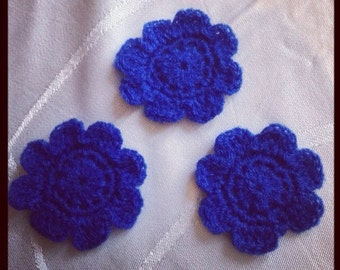 Pretty Blue Flower Applique - Set Of Three