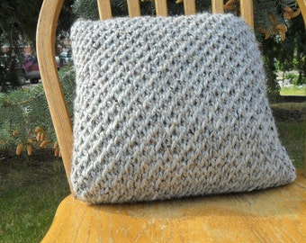 Gray Knit Pillow - Hand Knitted Pillow - Textured 16x16
