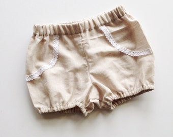 Girls Linen Bloomers / Bubble Shorts / Soft Beige Linen with Lace Accent