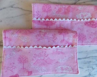 Baby Girl Pink Burp Cloth with Pocket - Set of 2 - Flannel, Terry Cloth - Bears