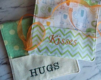 Hugs & Kisses Baby Burp Cloth with Pocket - Set of 2 - Flannel, Terry Cloth - Green, Yellow