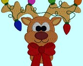 Reindeer Rudolph Christmas Lights Christmas Holiday Christmas Santa Claus INSTANT DOWNLOAD Embroidery Design Pattern
