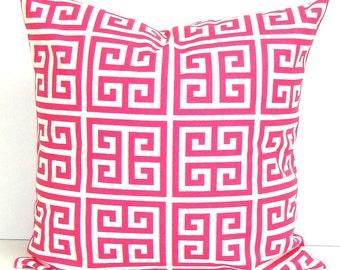 PINK PILLOW.26x26 inch.Euro Pillow Cover.Decorative Pillows.Housewares.Euro Pillow.Pink Euro.Greek Key.Cushion.Geometric.Sham.Euro.Large