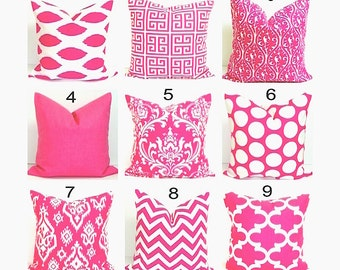 PINK Decorative Pillows.ALL SIZES.Decorative Pillow Cover.Housewares.Decor.Damask.Ikat.Chevron.Zebra.Stripe.Solid..Cm.Cushion Cover.Euro
