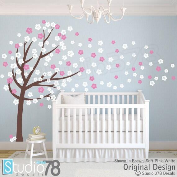 Cherry Blossom Vinyl Wall Art Tree Decal Flower Tree Wall - Custom vinyl wall decals cherry blossom tree