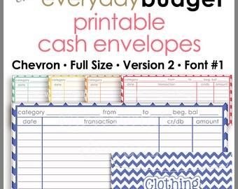 Chevron Printable Cash Envelope Ver.2, Budget Envelope System, Cash Organizer - Set of 5, Instant Download - PB1503