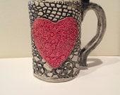 Large Handmade Ceramic Valentine Heart Mug