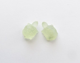 Natural Green Prehnite, Unheated, Carved Turtle, Lot (2) of 20.70 carats