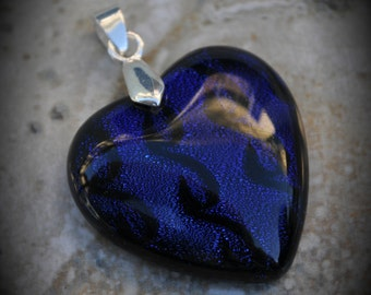 Heart Silver Plated Dichroic Fused Glass Pendant 6015