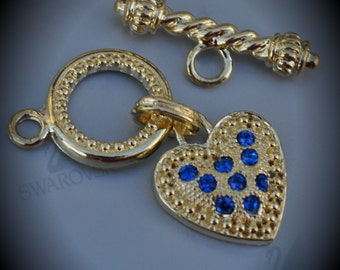 Genuine Large Gold Plated Swarovski Crystal Heart Toggle Clasp - Capri Blue