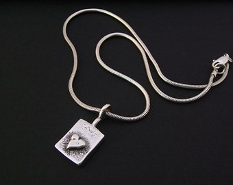 Vintage Chunky heart sterling silver pendant on chunky silver 15 inch snake chain - 1.9mm