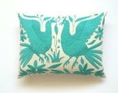 OTOMI PILLOW COVER - Aqua - Hand Embroidered in Mexico