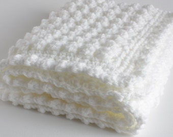 "Large White baby blanket. 30"" x 40"" approx handmade extra thickness crochet baby blanket/shawl. Ideal Christening / shower /new baby gift."