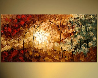 """Contemporary Landscape Abstract Forest Painting Modern Palette Knife Acrylic Painting by Osnat - MADE-TO-ORDER - 60""""x30"""""""