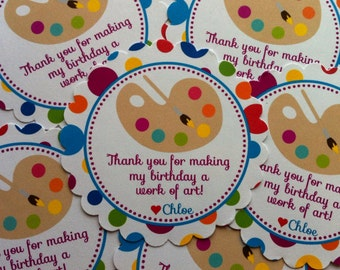 Painting Party Favor Tags - Art Birthday Favor Tags - Painting Birthday Favors - Paint Birthday Favors - Set of 12