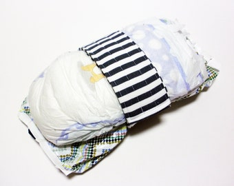 Stripe Diaper Strap - White Grey Stripes