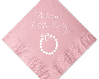 Welcome Little Lady Necklace Personalized Baby Shower Napkins