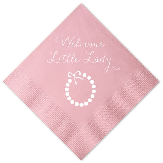 Welcome Little Lady Necklace Personalized Baby Shower Napkins By Pink Poppy Party Shoppe Catch