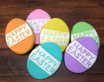 Decorated Cookies - Easter - Easter Eggs - 1 DOZEN