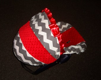 Alabama crimson tide Red minky Grey Chevron Stripe minky baby car seat cover infant seat cover slip cover Graco fit or evenflo