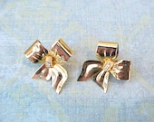 Pretty Vintage Bow Earrings with Rhinestone Centers