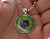 Made-to-Order Cat Portrait from your Photos// Pet Memorial // Pet Loss Comfort Gift // Miniature Painting // Pendant Necklace // Dog Horse