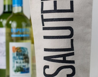 Wine Tote - Recycled Cotton Canvas - Modern Salute.