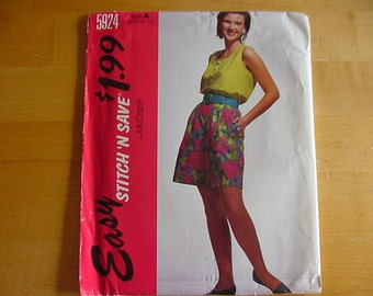 Vintage 1990s McCalls Stitch 'N Save Pattern 5924  Misses' Tank Top and Shorts , Size A (8-10-12-14), UNCUT
