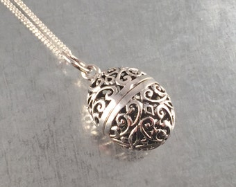 Locket Necklace, Orb Locket Necklace, Sterling Silver Locket Necklace, Sterling Locket, Sterling Shield, Victorian Necklace,Holiday