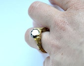 no.RI03_15. Brass and black moissanite ring.