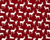 """TWO Curtain Panels, 25"""" WIDE x 63"""", 84"""", 96"""", 108"""", 120"""" - Red, Grey, OR Navy Background with White Deer Silhouettes"""