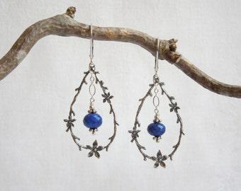 Cobalt Blue Gemstone Chandelier Earrings- AAA Lapis Lazuli- Sterling Silver Flowering Woodland Branches- Chandelier Earrings