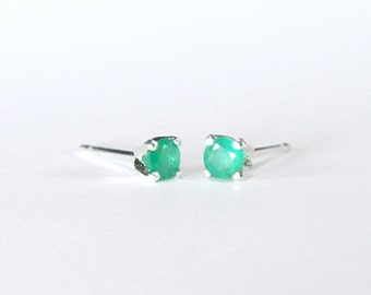 Emerald (3.8mm Translucent, Genuine Emeralds), 0.42 Carat TCW, Round Cut, Sterling Silver Post Earrings