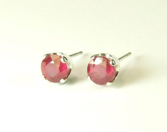 Ruby (5.0mm Natural Ruby), 5mm x 0.75 Carat, Round Cut, Argentium Silver Post Earrings