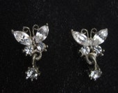 Vintage Rhinestone Butterfly Earrings  Pierced  Studs  Drops  Faceted Glass   Womens Vintage Jewelry Prom Cottage Accessory